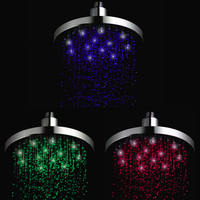 High quality 8 inches round temperature control waterfall led top shower head