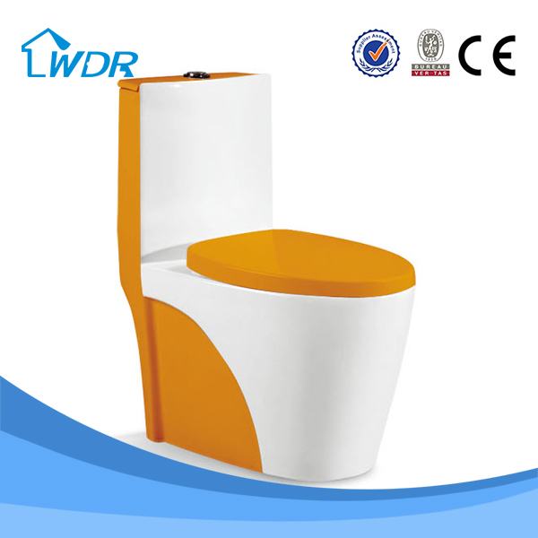 Bathroom Commode Orange Colored One Piece Toilet W9071A