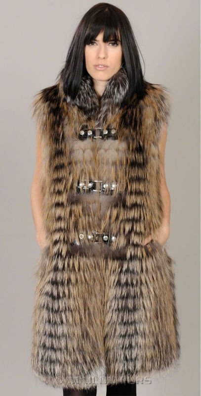 Golden Cross Feathered long Fox fur vest