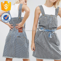House Pinstripe Dungaree Non-Stretch Denim Girls Dresses Manufacture Wholesale Fashion Women Apparel (TF0438D)