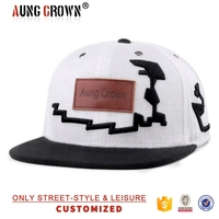 wholesale cheap flat bill cap/leather patch custom hat