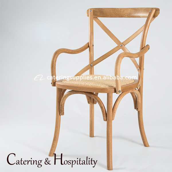 wholesale Strong Oak wood dining chair/X-back dining cross back chair with arm