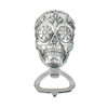 Sugar Skull Day of Dead Embossed Silver Resin Bottle Opener For Sale
