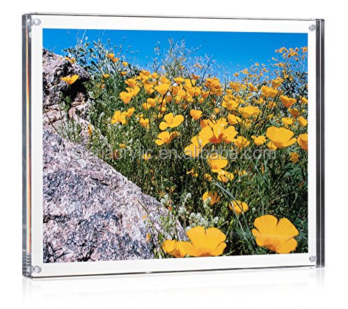 "8"" x 10"" Clear Magnetic Acrylic Block Photo Picture Frame Plexiglass Photo Holder Lucite Picture Frame"