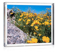 "Acrylic Block Picture Frame 8"" x 10"" , Plexiglass Photo Holder,Clear Lucite Magnetic Picture Frame"