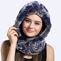 CX-C-19A High Quality Rabbit Fur Hood Knitted Scarf Hat For Women
