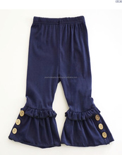 wholesale girls buttons ruffle pants girls knit cotton pants with buttons solid color ruffle capris