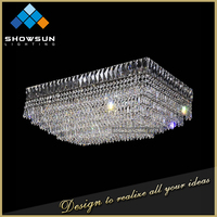 2016 customization chic crystal rectangular hotel lobby ceiling light