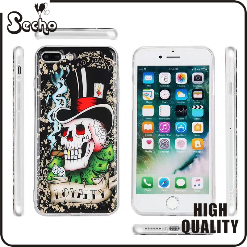 2017 New Pattern Anti-Gravity Phone Case, Nano Hands-Free Selfie Clear Protective Case Stick to Mirror, Glass, For iphone 7,6s
