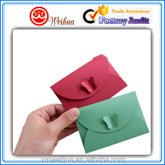 Eco-friendly foldable handmade stylish and cute craft paper envelopes with butterfly tie closure