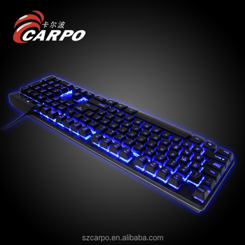 Cool Backlit LED Illuminated Ergonomic usb wired gaming keyboard with waterproof design