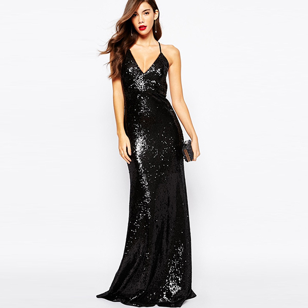 Lady cocktail gowns deep V new design long maxi evening dress