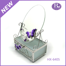 HX-6405 Purple Butterfly Clear Large Antique Metal Glass mirror jewelry box