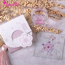 Wedding Souvenir Square Sakura Bloom Glass Coasters Shower Party Decor Guest Gifts Wedding Table Party Collection