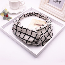 Black and white plaid printed fancy stretchy hair decorations snood hairlace headbands for girl