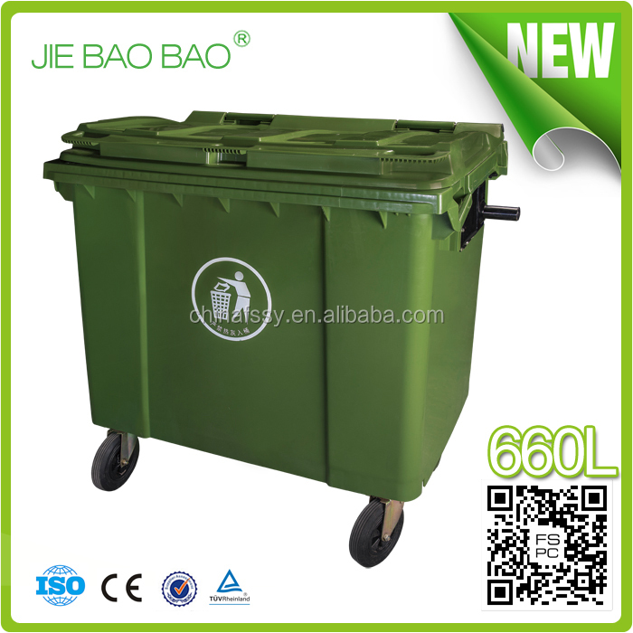 JIE BAOBAO! FACTORY MADE HDPE OUTDOOR 660L GARBAGE CAN CLEANING TRUCK