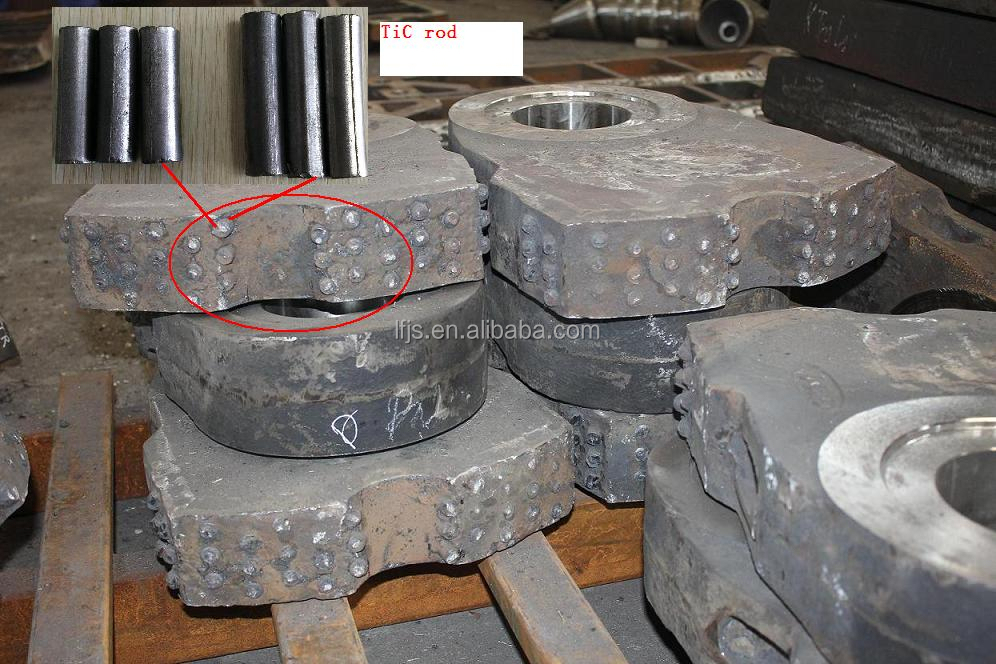 Titanium <strong>carbide</strong> inserts for max increasing wear life of the manganese wearing parts crusher parts