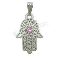 Jewelry factory direct rhinestone hamsa hand accessory pendant with bail