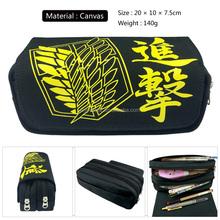 Anime Game Attack on Titan Pencil Case Bag Zipper Pouch Students Shingeki No Kyojin Cartoon Stationery Pouch
