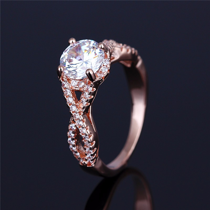Rose Gold Plated Lonic Pattern Letter 8 Crystal Silver Shade Multi Zircon Ring