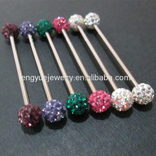 16G 38mm Crystal Ball Long Barbell Gold Planted Industrial Tragus Ear Piercing