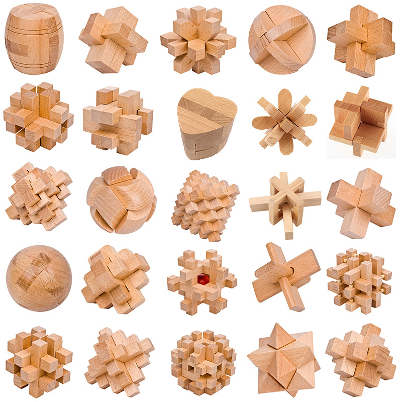 Custom Bamboo Wooden Brain Teaser Puzzle Educational Intellect Blocks Toys