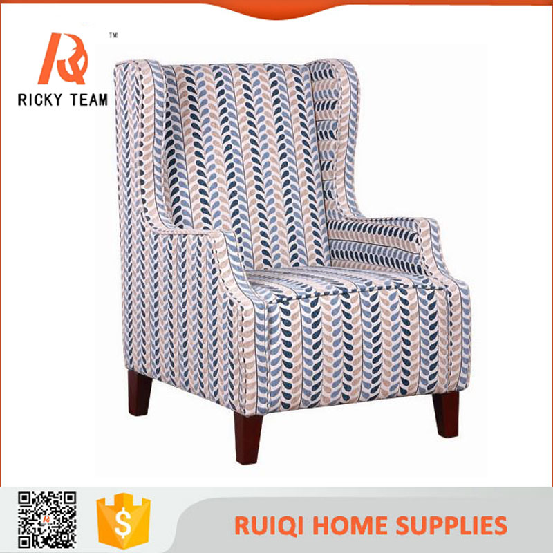 Modern designs of single seater sofa loui xvi colors of cloth wood sofa chair Wooden Classic Singer Fabric Chair