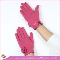 China wholesale flower decoration pink cheap women fashion gloves factory