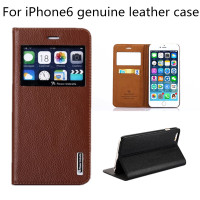 Highest Cowhide Genuine Leather Cell Phone Case For Apple iPhone 6 Plus 5.5 inch Back Cover For iPhone6 With View Window hot
