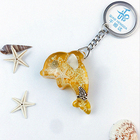 Hot sale Artificial luminious Dolphin shape resin amber craft keychain Foreign trade export key chain decorations