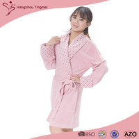 Satin Inlay Polyester / Cotton Bathrobes Women Dress Gown