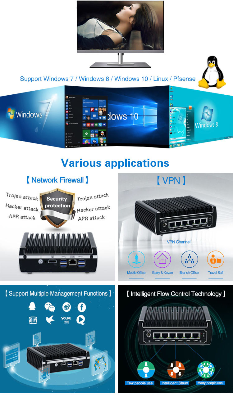Newest Intel skylake Core i3 7100U processor 6 rj45 lan pc Nano station system fanless linux mini pc server