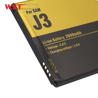 Shenzhen WST lithium ion battery real capacity 2600mah battery of mobile phone battery for samsung J3