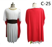 2017 New Red and white combo Half length sleeve Gold collor trim white tunic Red long cape Brown belt Ancient Roman design Tunic