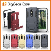 Rugged rubber kickstand combo case for motorola moto x force droid turbo 2