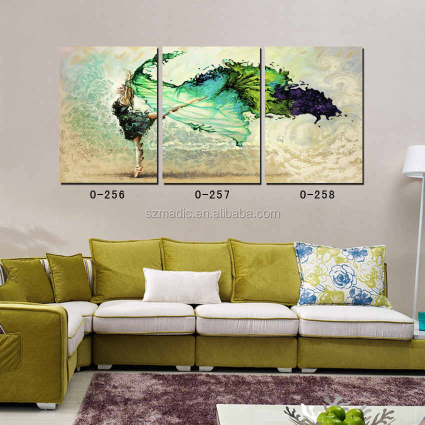 3 Panel Printed Wall Art Modern Abstract Paintings Dancing Ballet Girl Print Photos on Canvas