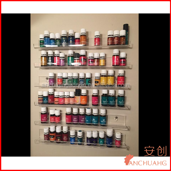 Set of 3 Wall Mounted Clear Acrylic Nail Polish Rack / Essential Oil Display Organizer
