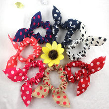 Wholesale Sweet Fabric Rabbit Ear Hair Tie Big Bow Elastic Hair Band with Spots for Women