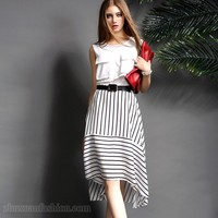 2016 New Fashion Sleeveless Striped Women Dress Ladies Official Dresses