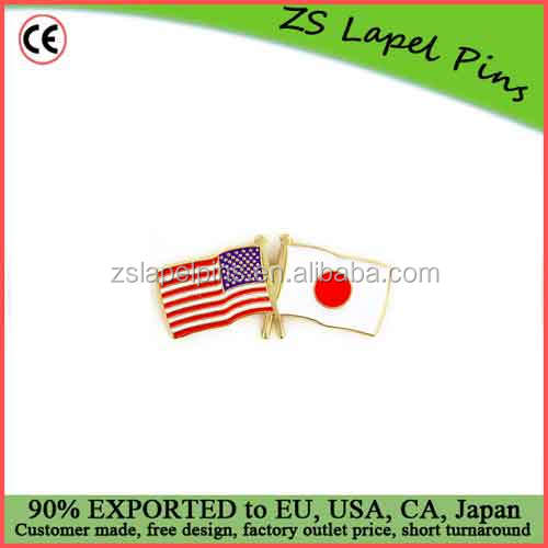 Custom high quality hard enamel USA and Japan Crossed Friendship Flag Lapel Pin