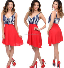 Navy Blue Red White Striped Color Block Betty Tie Nautical Flare Dress