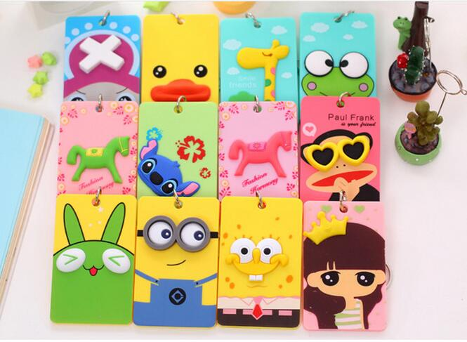 Fancy embossed cartoon Minions animal shape business card cover pvc silicone passport case bus ID card holder with key ring
