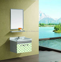 Small size wall hanging vanity stainless steel laundry sink cabinet