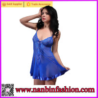 New style blue sexy mature woman lingerie for women