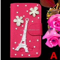 Eiffel Tower leather bling bling diamond phone case for Samsung Galaxy A7 A700