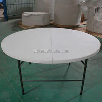 6ft 180cm Cheap Dining round plastic folding table with folding leg