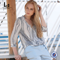 Women Casual Striped Three Quarter Sleeve Chiffon Blouse V Neck Fashion Sweet New Design Women Tops