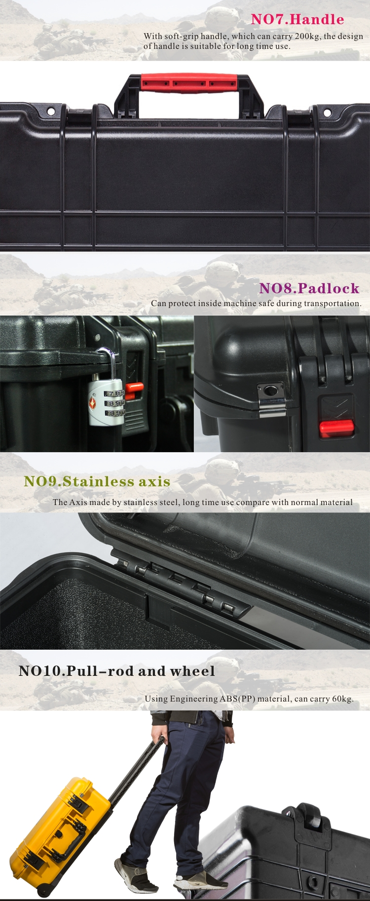 Plastic briefcase for equipment