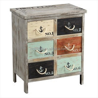 6 drawers antique industry style MDF metal iron dresser table