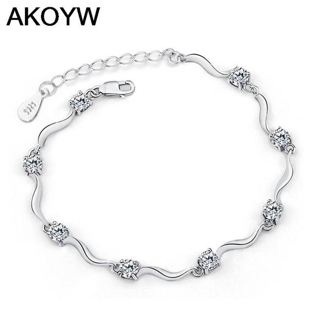 Silver plated four feet eight female models crystal bracelet cute fashion jewelry wild retro jewelry super flash 17.5CM
